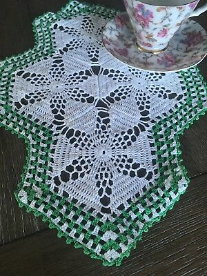 Vintage Handmade Kelly Lime Green And White Cotton Crochet Lace Doily