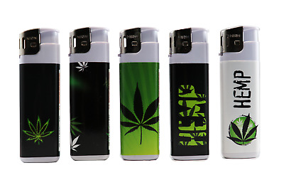 5 Hemp Full Size NEON Electronic Disposable Cigarette Lighters, All Purpose