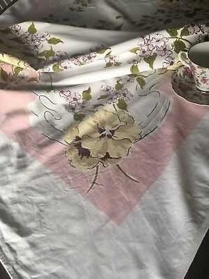 Vintage Mid Century Pink & Gray Floral Printed Cotton Tablecloth