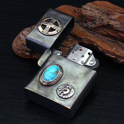 Zippo Lighter Medicine Wheel Native American Natural Turquoise Kokopelli