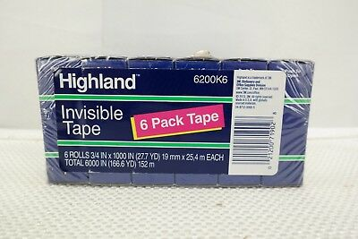 "Highland Invisible Tape 3/4"" x 1000"" 6 Rolls  T3"