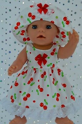 """Play n Wear Doll Clothes To Fit 17"""" Baby Born  CHERRY PATTERN DRESS~HAT"""