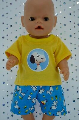 """Play n Wear Doll Clothes To Fit 17"""" Baby Born PATTERN SHORTS~YELLOW T-SHIRT"""
