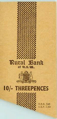 Rural Bank of New South Wales = Threepence 10/- Ten Shilling Coin Wrapper 1/1961
