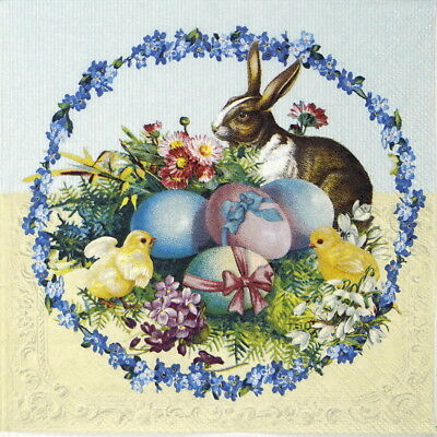 4x Paper Napkins for Decoupage Craft Easter Egg Wreath