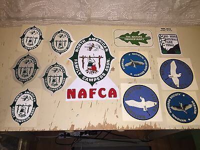 12 Vtg North American Family Campers Association NAFCA Audubon Society Stickers