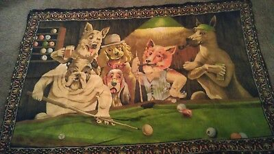 Dogs playing pool vntage tapestry preowned