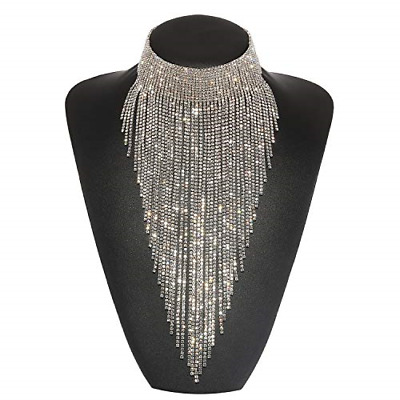 Holylove Statement Necklace for Women Tassel Collar Crystal Necklace Set Novelty