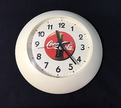 1997 Coca Cola Wall Clock 11.5 Inch Round White Plastic Battery Operated Tested