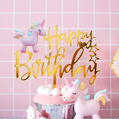 Unicorn Acrylic Cake Topper Happy Birthday Rainbow Party Decoration Gold
