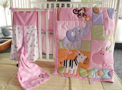 Pink Zoo Cotton Baby Crib Cot Bedding Quilt Bumper Sheet Dust Ruffle Set of 6pcs