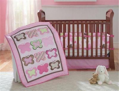 Pink Butterfly Baby Crib Cot Bedding Quilt Bumper Sheet Dust Ruffle Set of 4pcs