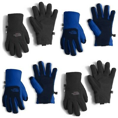 NEW The North Face Boys Denali Etip Gloves Blue Black NWT SIZE S, M