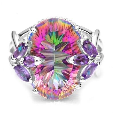 Charming Huge Rainbow Gems Oval Cut Silver Finger  Ring Size 6/7/8/9/10 Jewelry