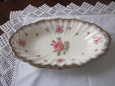 Beautiful Vintage Crown Ducal Pink Rose And Gilt Large Oblong Server