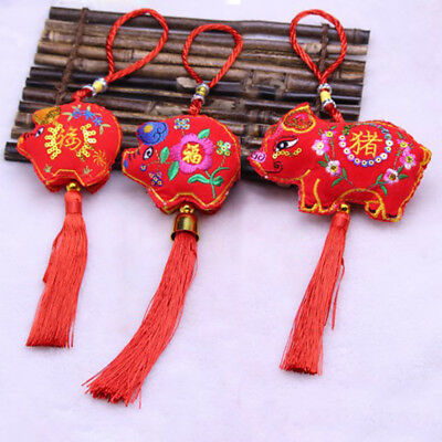 AEthnic Pig Embroidery Tassels Hanging Pendant Mini Sachet New Years Gift New