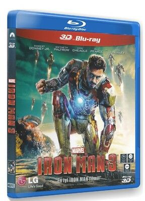 "iron Man 3 / Robert Downey Jr. 3D BLU-RAY ""Region Free"" ""Import TR"""