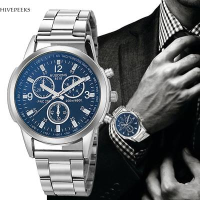Stainless Steel Band Classic Quartz Round Analog Men's Casual Wrist Watch Gift
