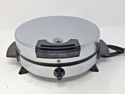 Vintage JC Penney Round Waffle Baker Grill Iron Chrome Toastmaster??