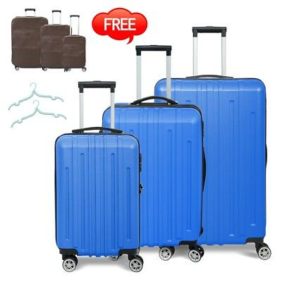 3PC Travel Luggage Set Bag Trolley Spinner Business Hard Shell Suitcase Blue