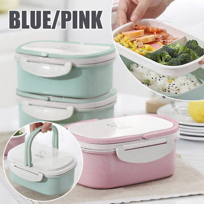 Portable Lunch Box Wheat Straw Picnic Microwave Bento Food Storage Container New