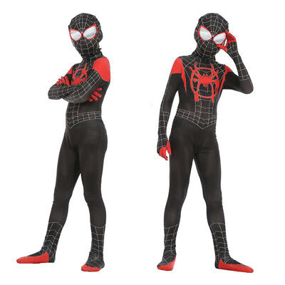 Spider-Man Into the Spider Verse Kids Miles Morales Cosplay Costumes Zentai Suit