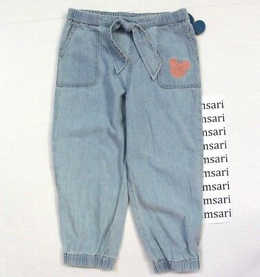Disney Junk Food Girls' Mickey Mouse Front Tie Jogger Pants Chambray Blue Size S