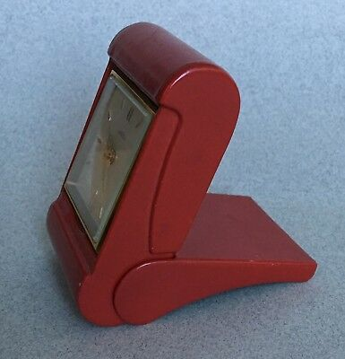QUALITY SWISS ANGELUS 8 DAY TRAVEL ALARM CLOCK vintage folding red leather case