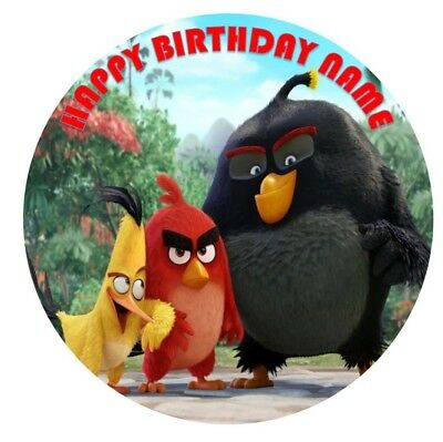 ANGRY BIRDS  Edible Image Birthday Party Cake Topper 19cm Round