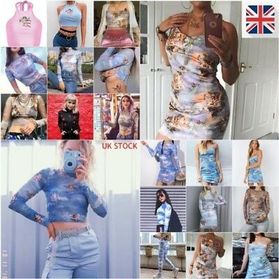 UK STOCK Womens Love God Cupid Printed Mesh Crop Tops Shirt Jumpsuit Dress Skirt