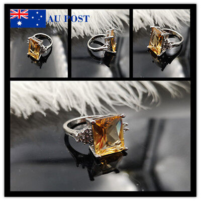 New Women's Creative Silver Plated Round Yellow Crystal Wedding Engagement Rings