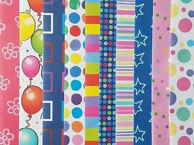 10 Sheets Of Good Quailty Thick Assorted Birthday / General Wrapping Paper