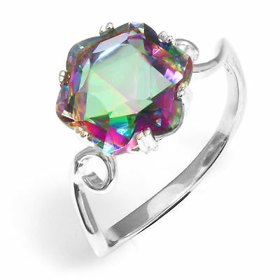 11mm Genuine Hexagonal Mystic Topaz Solid Sterling Silver Ring Size 8