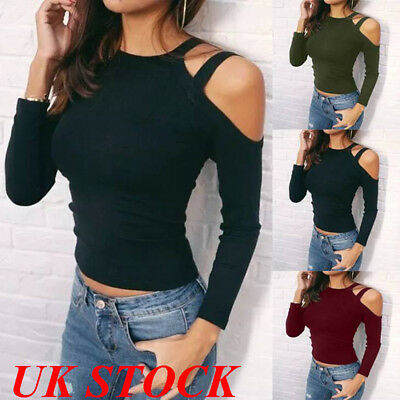 UK Womens Ladies Off Shoulder Long Sleeve Slim T Shirt Tops Stretch Blouse Top