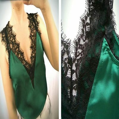 Blouse Patchwork Elegant V Neck Women's Trim Silk Lace Vest Tank Tops Shirt