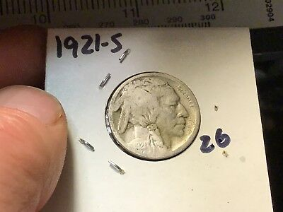 1921-S BUFFALO NICKEL Low Mintage,  Restored Date 5 CENT, Wholesale on G $45