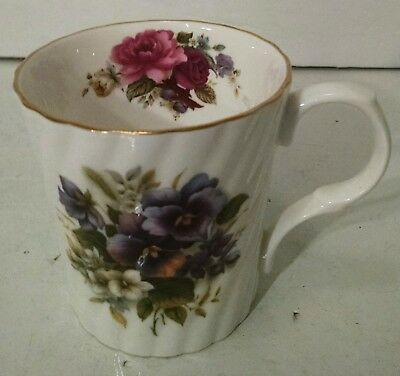 Antique Royal Castle Tea Cup Bone China Gold Rim Red Roses Stamped England