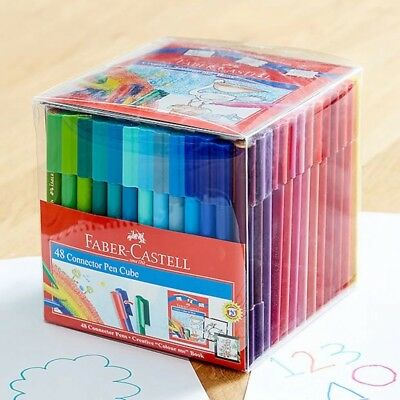 Faber Castell Texters 48x Connector Pens Art Drawing Texta Colouring Adult Kids