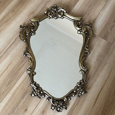 Lovely Vintage Maison - Ornate Framed Heavy Mirror - Bronze Brass colour