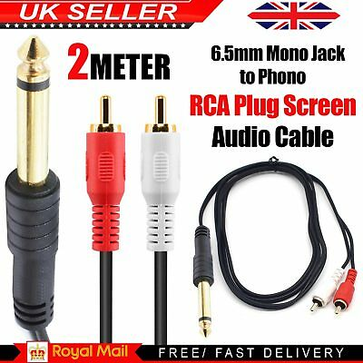 Stereo Jack Plug to Aux RCA Phono Plugs 6.5mm 1/4 inch OFC Audio Cable 2m