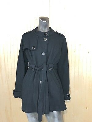 Motherhood Maternity Large Black Cotton Blend Button Up Pea Coat Belted