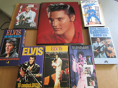 Elvis Presley Collectible Items Book W/pictures,dvd, 75 Tune Cd,  (6) Vhs Tapes