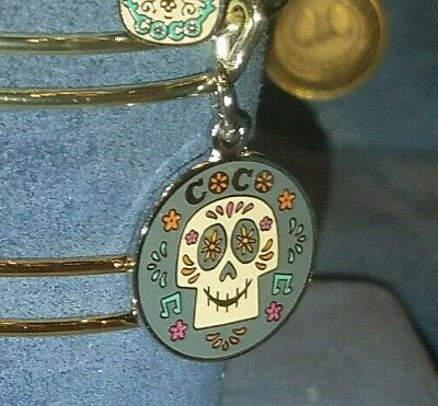 Disney Parks Alex and Ani Coco Sugar Skull Silver Charm Bangle Bracelet
