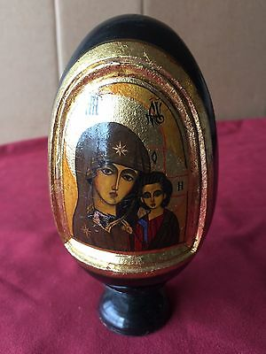 Russian Lacquer Wooden Easter Egg Madonna and Child Icon Circa 1990's RARE!