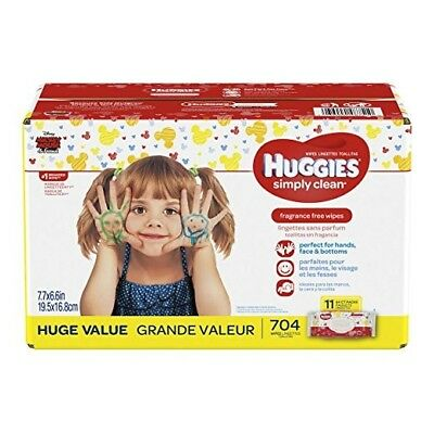 Huggies Simply Clean Soft Baby Wipes, Unscented, 704 Count