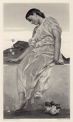 """Alluring 1800s Frederic Leighton Engraving """"Games of Patience"""" SIGNED Framed COA"""