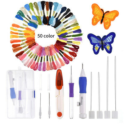 Magic Embroidery Pen Punch Needle Set Stitching Tool DIY Craft Threaders Sewing