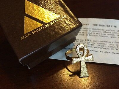 Vintage Egyptian Revival Gold Ankh Ring - Sign of Life - Alva Museum Replicas