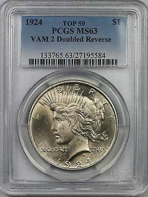 1924 $1 PCGS MS 63 (TOP 50 VAM 2 Doubled Reverse) Peace Silver Dollar