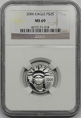 2000 Platinum Eagle $25 Quarter-Ounce MS 69 NGC 1/4 oz Platinum .9995